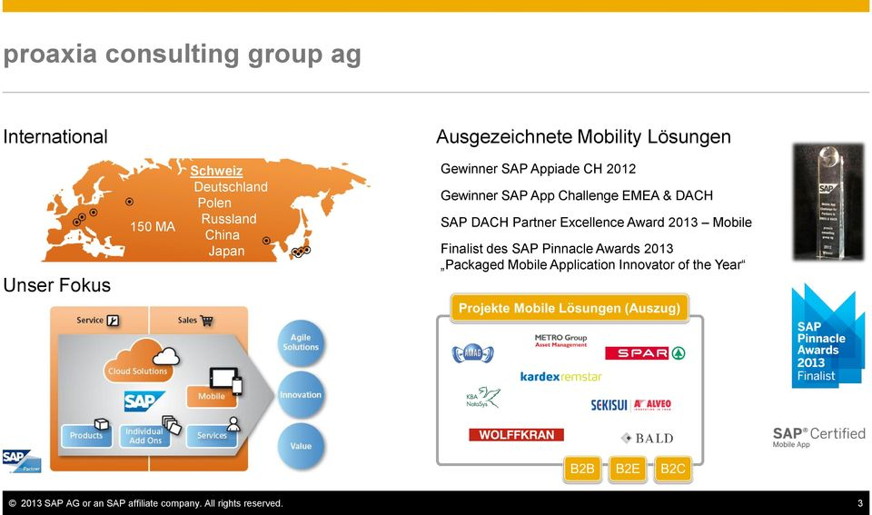 DACH SAP DACH Partner Excellence Award 2013 Mobile Finalist des SAP Pinnacle Awards 2013 Packaged