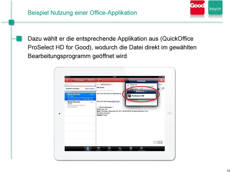 (QuickOffice ProSelect HD for Good), wodurch die