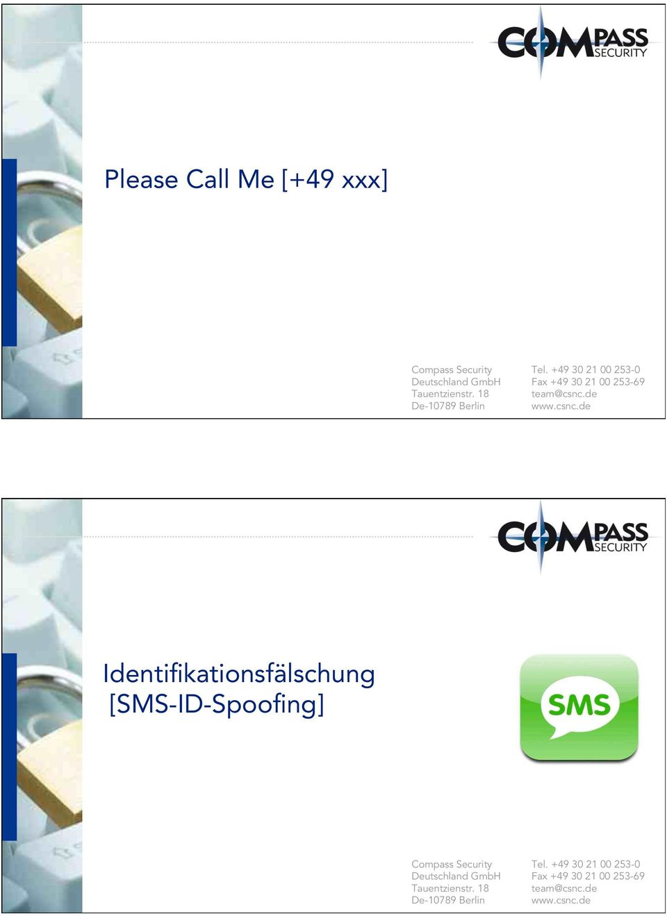 csnc.de Identifikationsfälschung [SMS-ID-Spoofing] Compass Security Deutschland GmbH