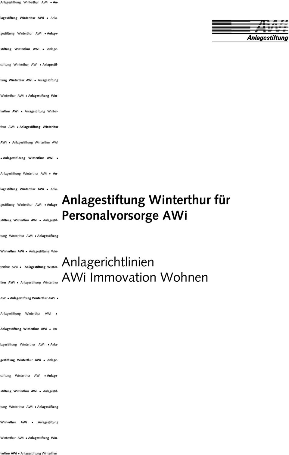 Personalvorsorge AWi Anlagestiftung Winterthur