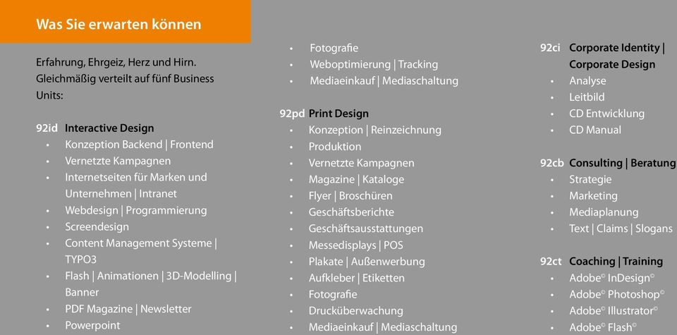 Screendesign Content Management Systeme TYPO3 Flash Animationen 3D-Modelling Banner PDF Magazine Newsletter Powerpoint Fotografie Weboptimierung Tracking Mediaeinkauf Mediaschaltung 92pd Print Design