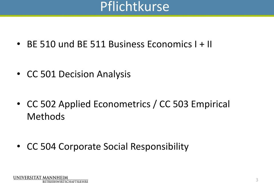 502 Applied Econometrics / CC 503 Empirical