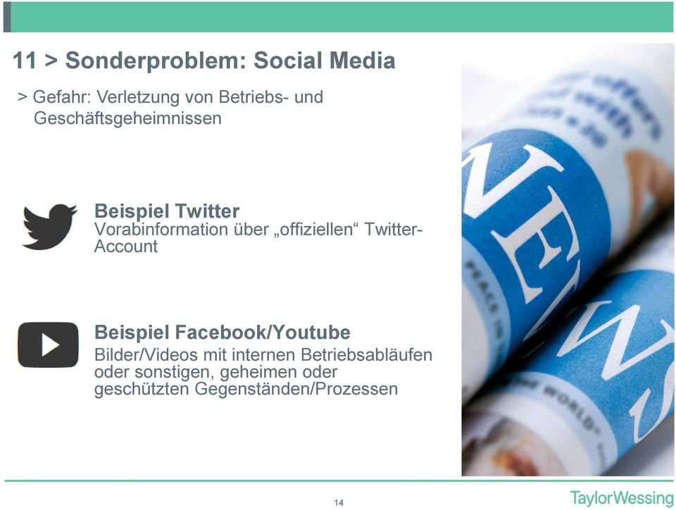Twitter- Account Beispiel Facebook/Youtube Bilder/Videos mit internen