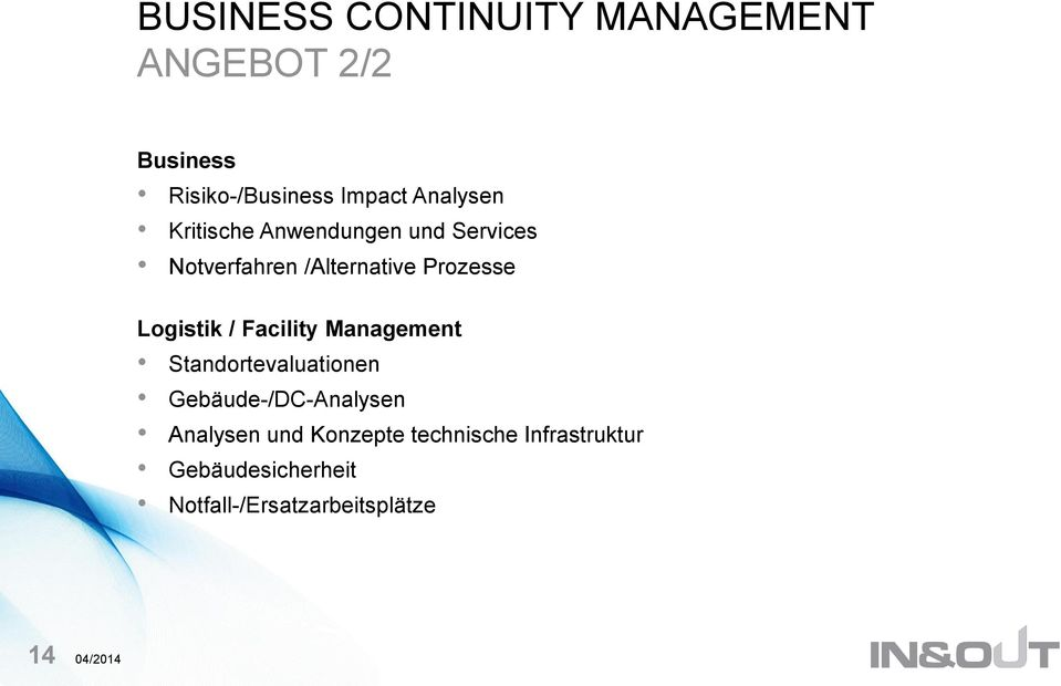 Logistik / Facility Management Standortevaluationen Gebäude-/DC-Analysen