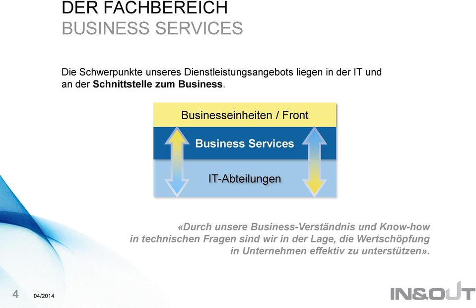 Businesseinheiten / Front Business Services IT-Abteilungen «Durch unsere