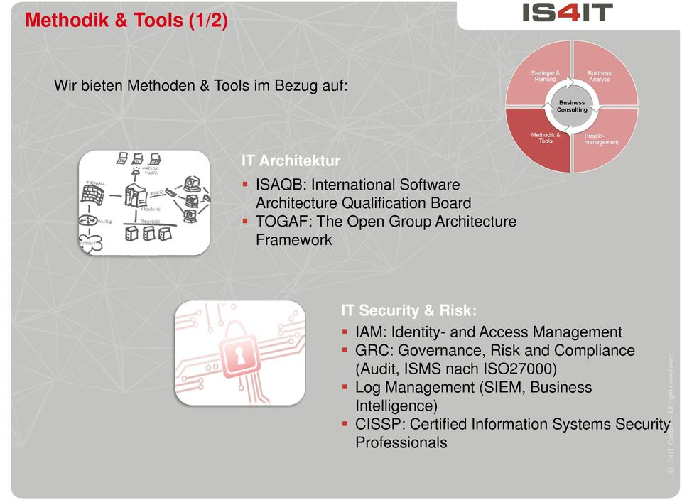 Risk: IAM: Identity- and Access Management GRC: Governance, Risk and Compliance (Audit, ISMS nach
