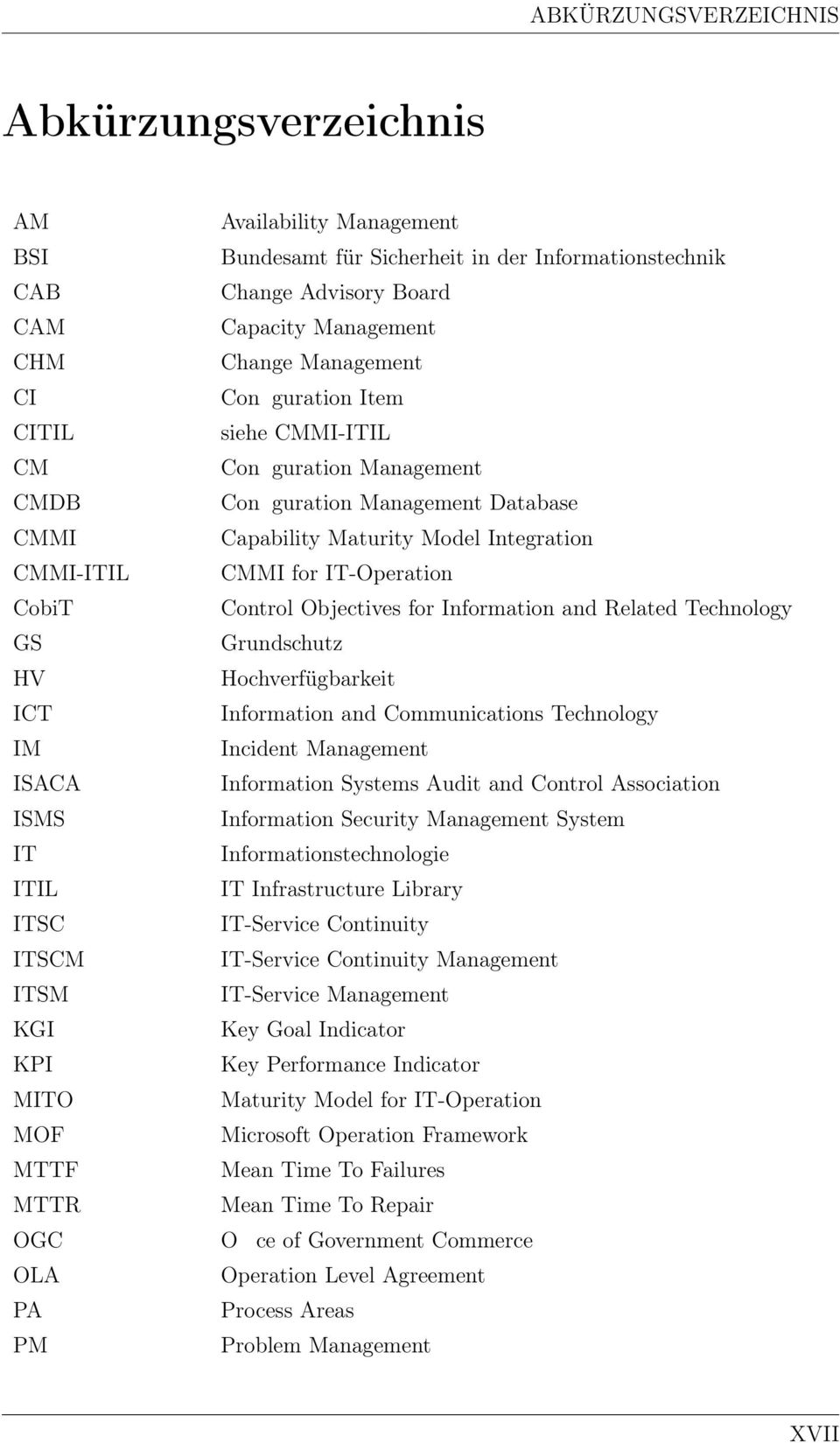 Conguration Management Database Capability Maturity Model Integration CMMI for IT-Operation Control Objectives for Information and Related Technology Grundschutz Hochverfügbarkeit Information and