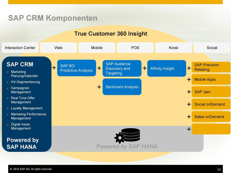 Asset SAP BO Predictive Analysis Discovery and Affinity Insight SAP Audience Targeting Sentiment Analysis