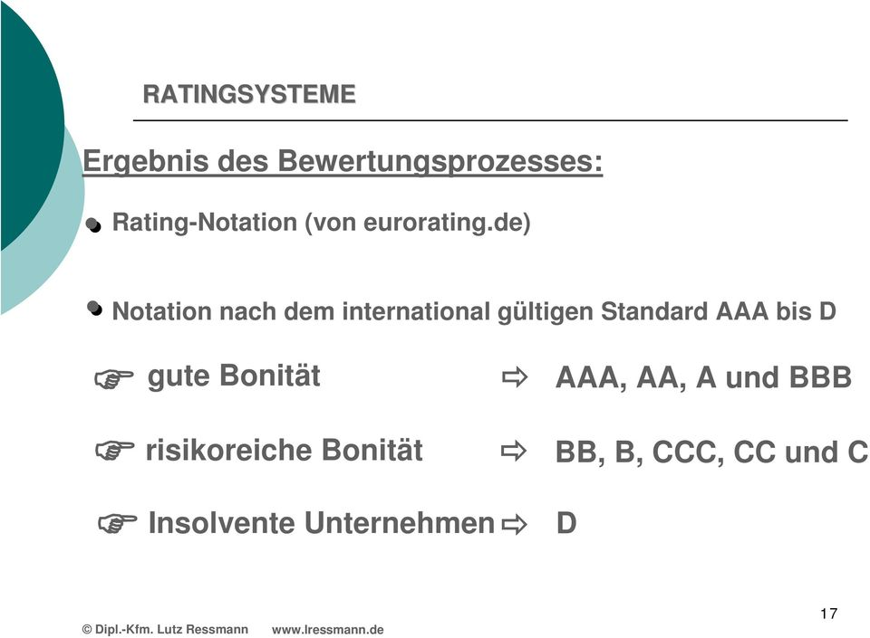 de) Notation nach dem international gültigen Standard AAA bis
