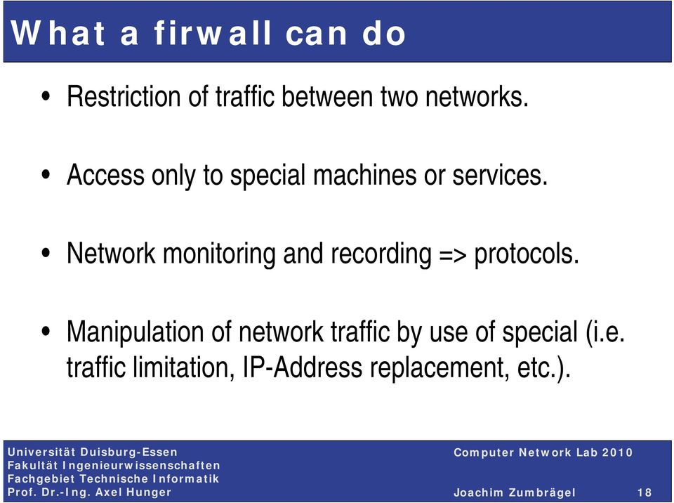 Network monitoring and recording => protocols.