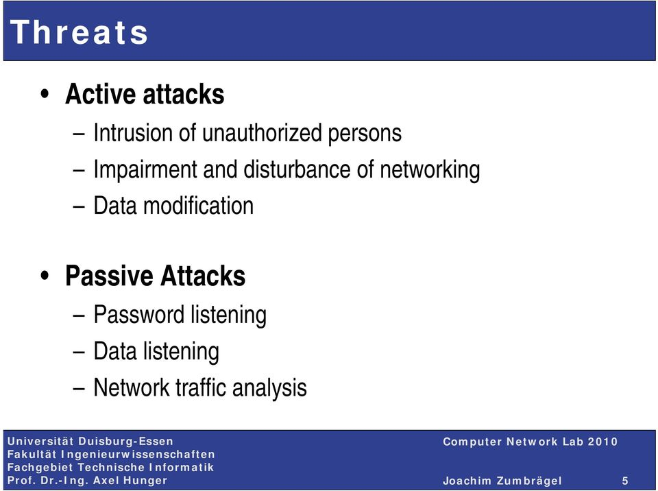 Data modification Passive Attacks Password listening
