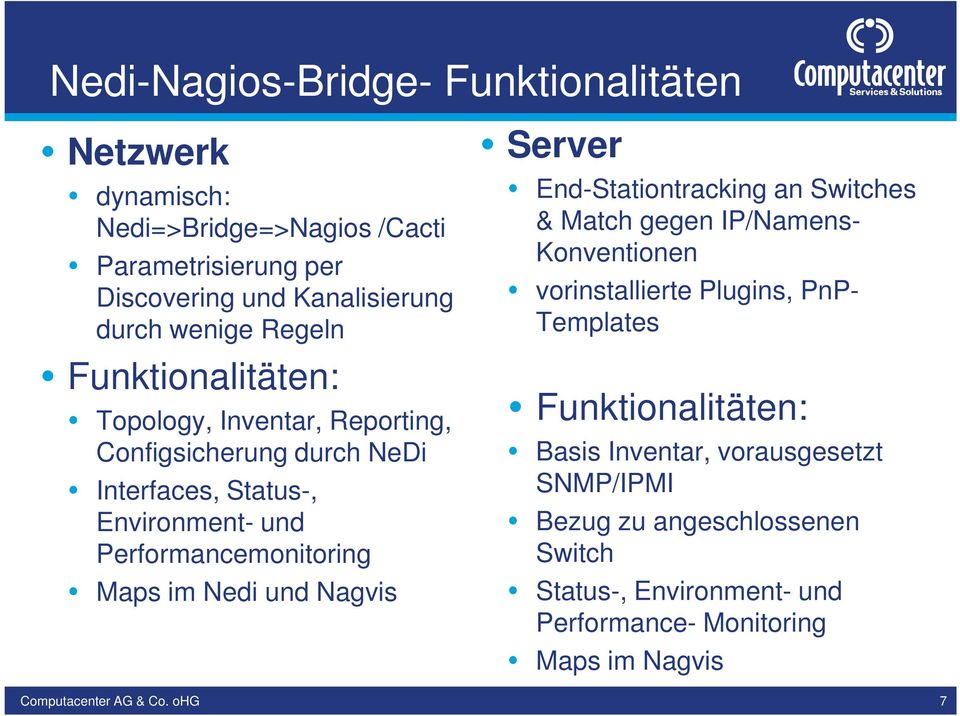 Performancemonitoring Maps im Nedi und Nagvis Server End-Stationtracking an Switches & Match gegen IP/Namens- Konventionen vorinstallierte Plugins,