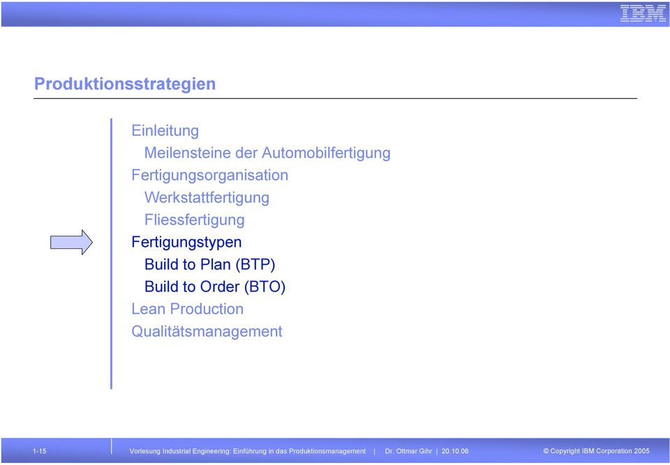 to Plan (BTP) Build to Order (BTO) Lean Production Qualitätsmanagement 1-15