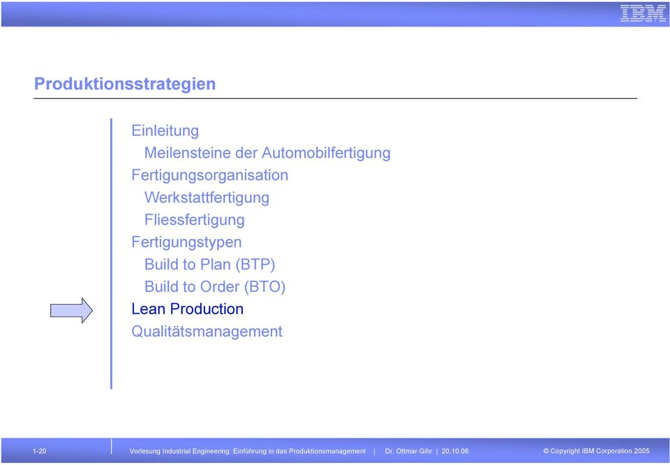 to Plan (BTP) Build to Order (BTO) Lean Production Qualitätsmanagement 1-20