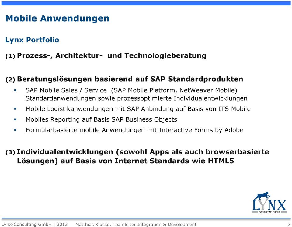 Basis von ITS Mobile Mobiles Reporting auf Basis SAP Business Objects Formularbasierte mobile Anwendungen mit Interactive Forms by Adobe (3) Individualentwicklungen