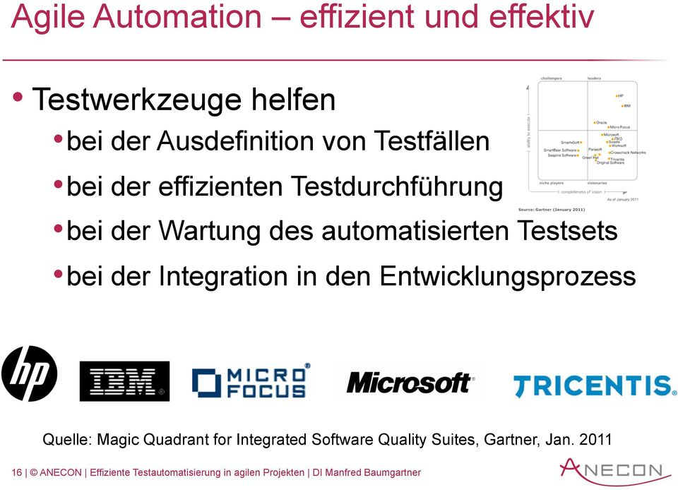Integration in den Entwicklungsprozess Quelle: Magic Quadrant for Integrated Software Quality
