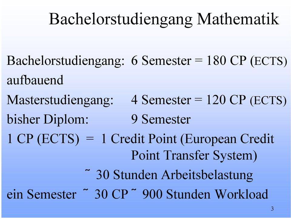 Semester 1 CP (ECTS) = 1 Credit Point (European Credit Point