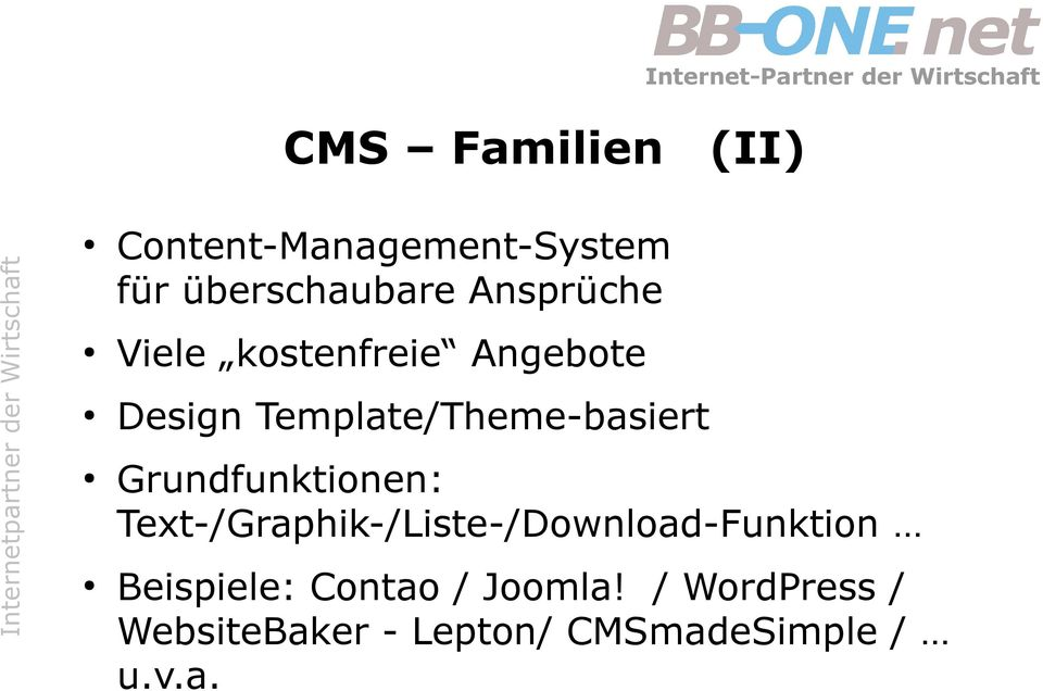 Grundfunktionen: Text-/Graphik-/Liste-/Download-Funktion Beispiele: