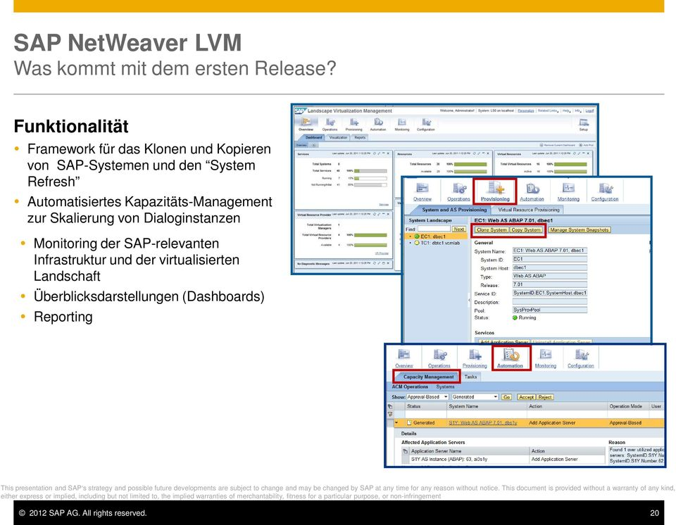 SAP-relevanten Infrastruktur und der virtualisierten Landschaft Überblicksdarstellungen (Dashboards) Reporting This presentation and SAP s strategy and possible future developments are