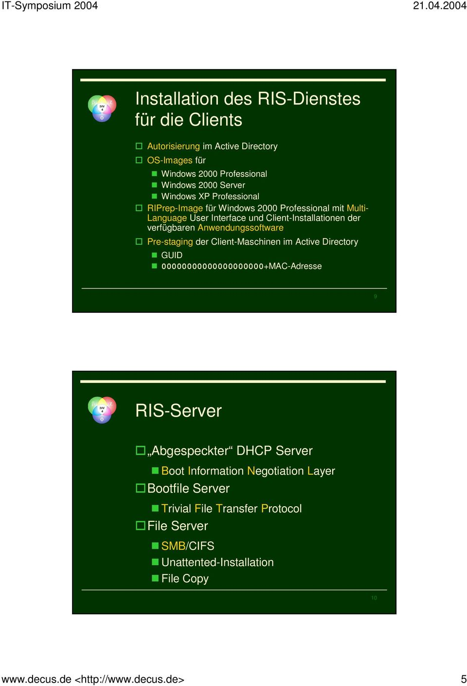 Pre-staging der Client-Maschinen im Active Directory GUID 00000000000000000000+MAC-Adresse 9 RIS-Server Abgespeckter DHCP Server Boot Information