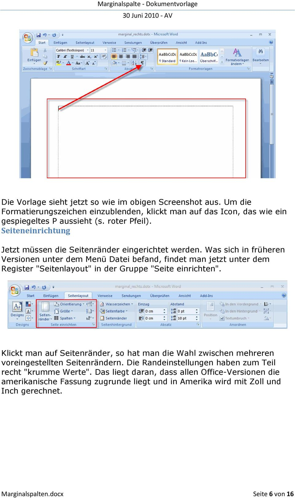 Marginalspalten (Randnotizen) in Word PDF