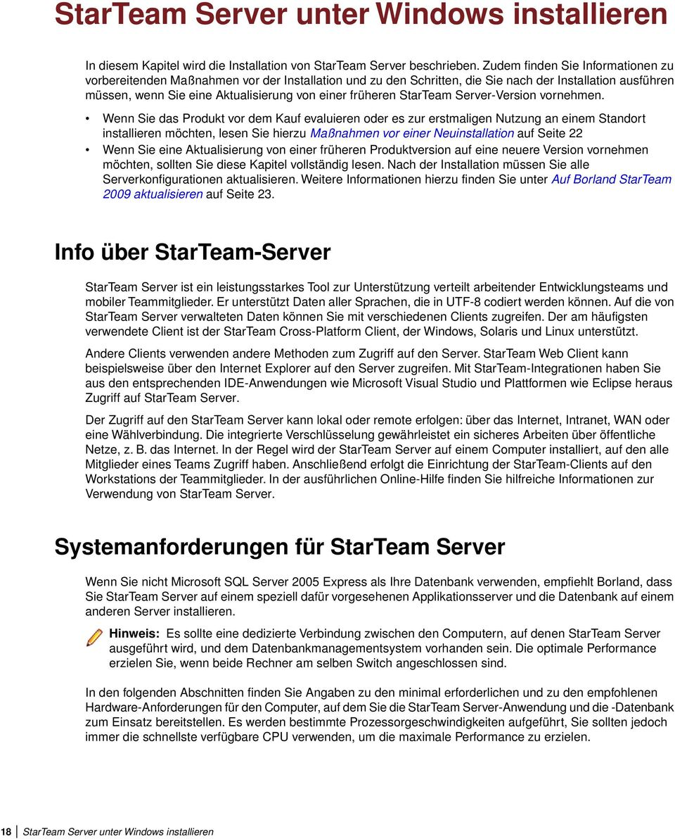StarTeam Server-Version vornehmen.