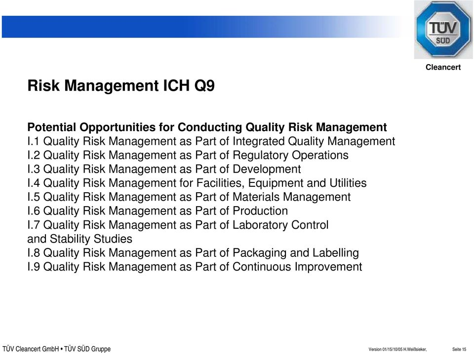 4 Quality Risk Management for Facilities, Equipment and Utilities I.5 Quality Risk Management as Part of Materials Management I.