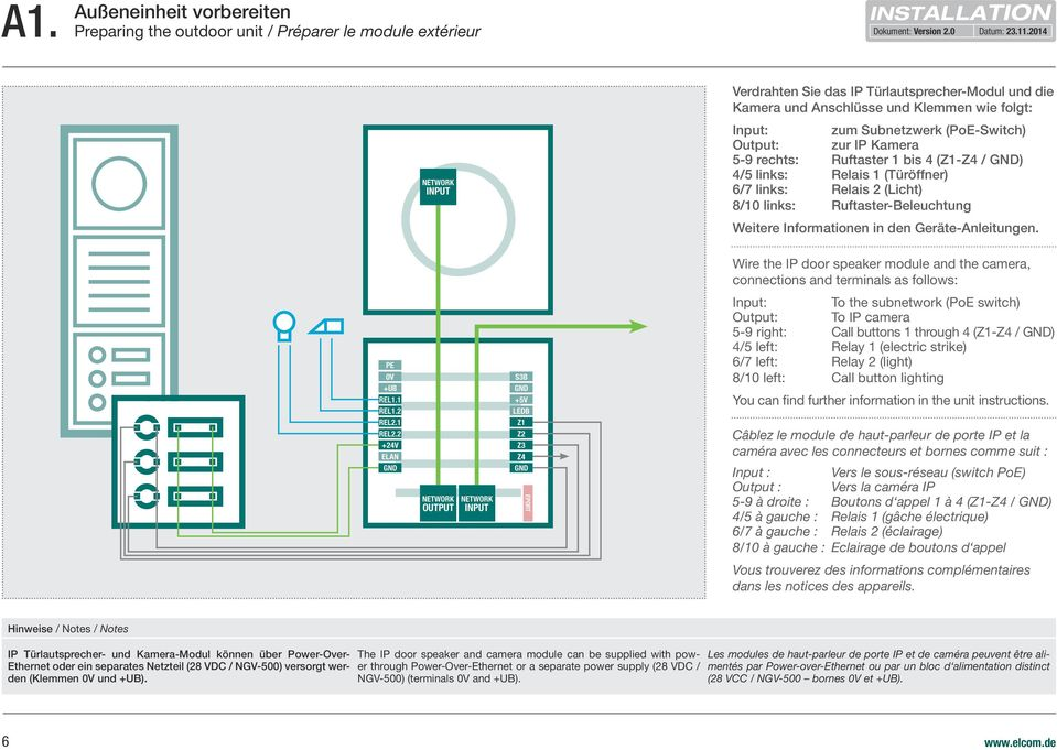 Weitere Informationen in den Geräte-Anleitungen. Wire the IP door speaker module and the camera, connections and terminals as follows: PE 0V +UB REL1.1 REL1.2 REL2.1 REL2.