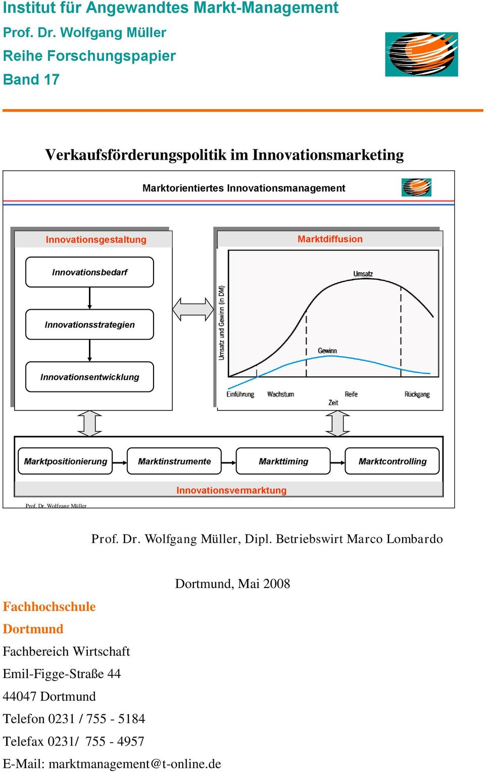 Marktdiffusion Innovationsbedarf Innovationsstrategien Innovationsentwicklung Marktpositionierung Marktinstrumente Markttiming Marktcontrolling Prof. Dr.