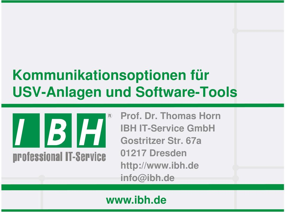 Thomas Horn IBH IT-Service GmbH Gostritzer