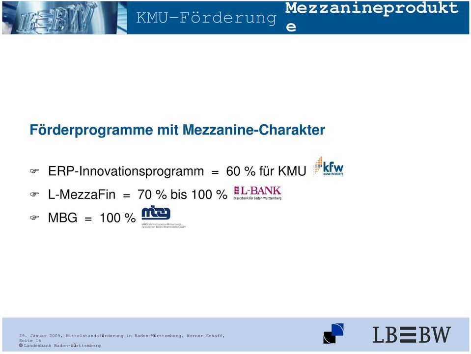 ERP-Innovationsprogramm = 60 % für