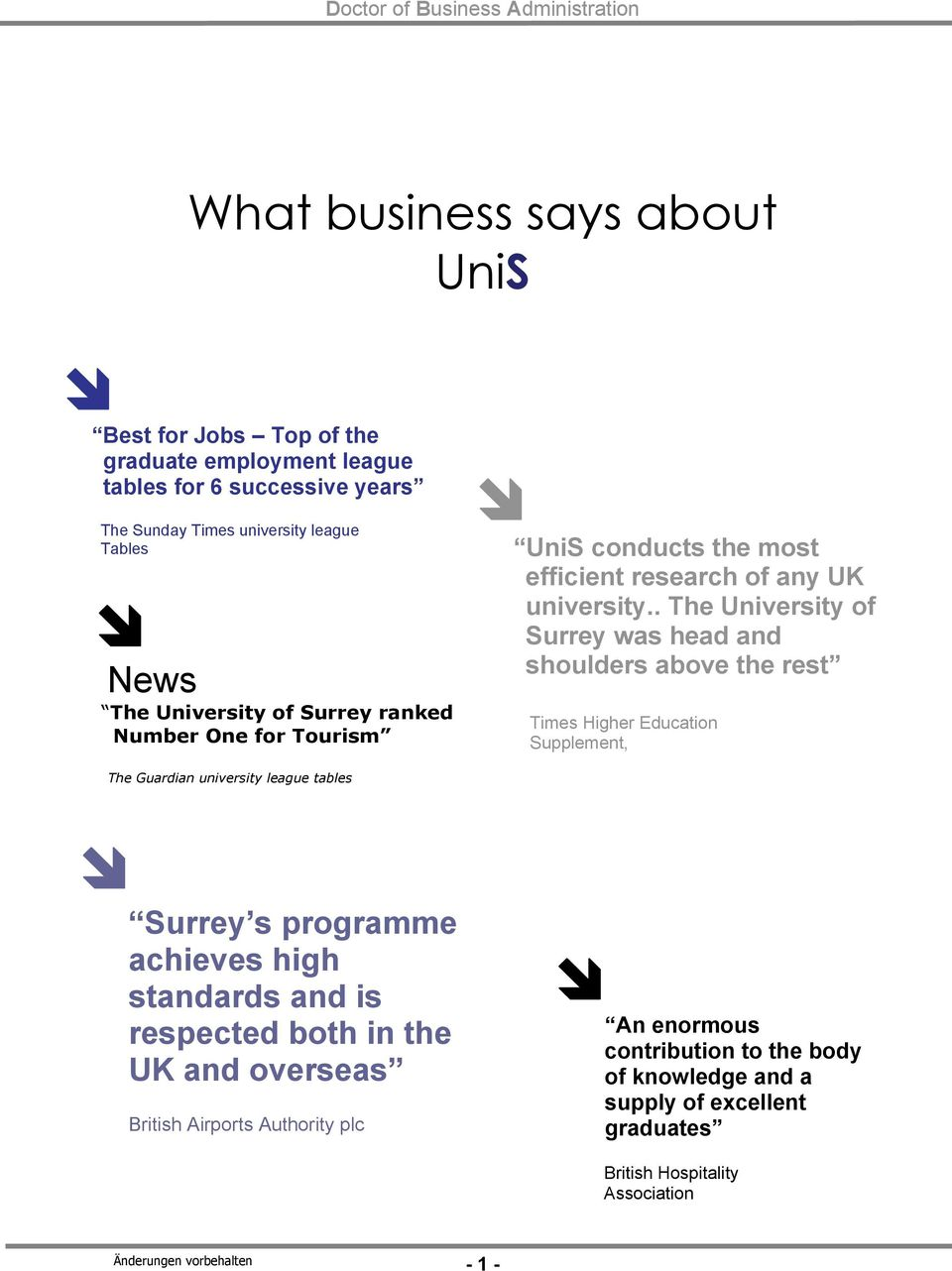 . The University of Surrey was head and shoulders above the rest Times Higher Education Supplement, The Guardian university league tables Surrey s programme