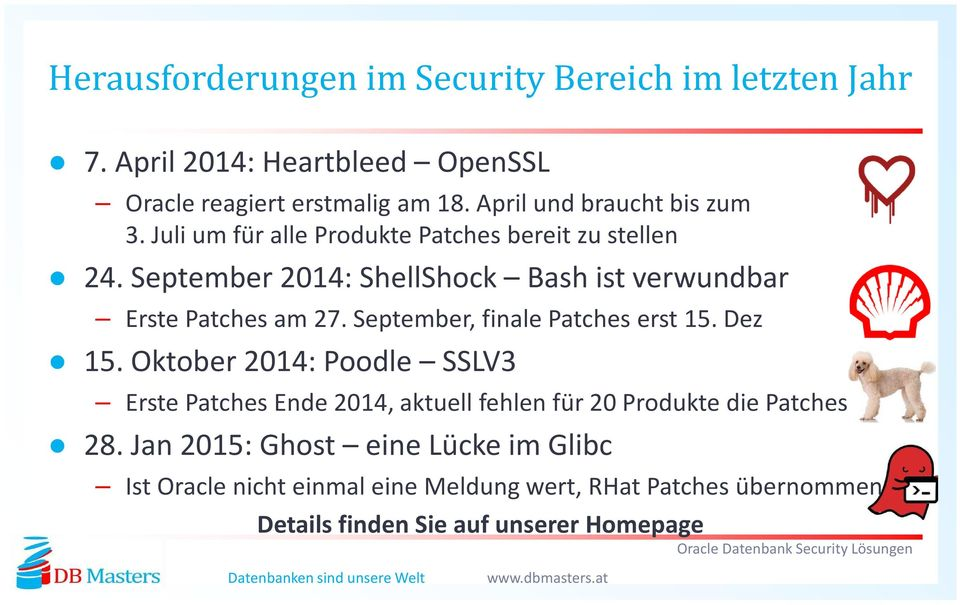 September 2014: ShellShock Bash ist verwundbar Erste Patches am 27. September, finale Patches erst 15. Dez 15.
