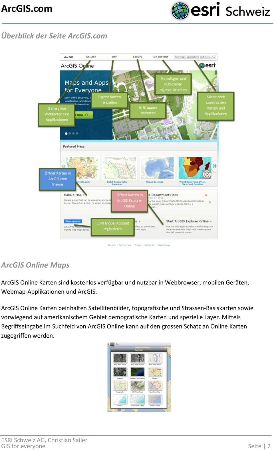 Webmap-Applikationen und ArcGIS.