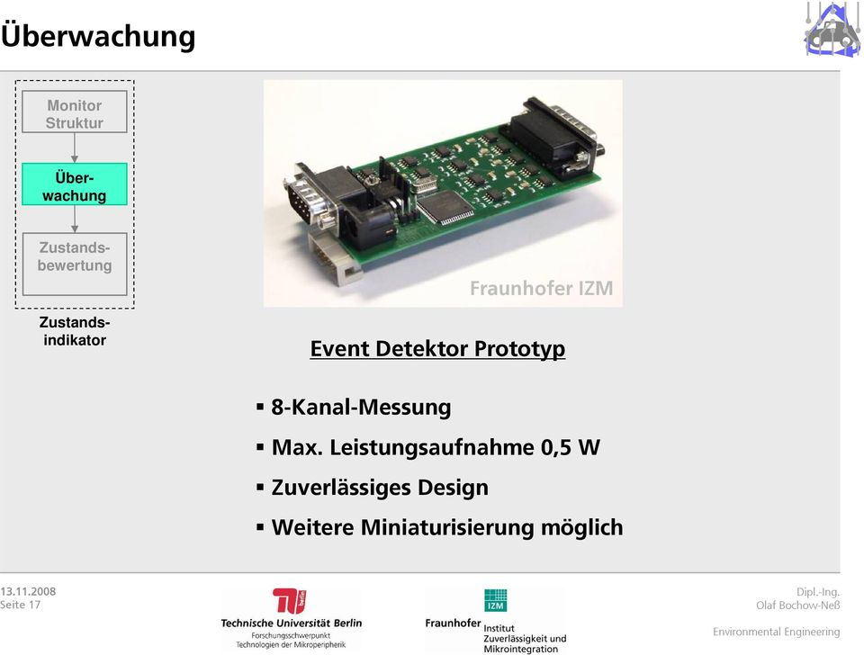 Event Detektor Prototyp 8-Kanal-Messung Max.
