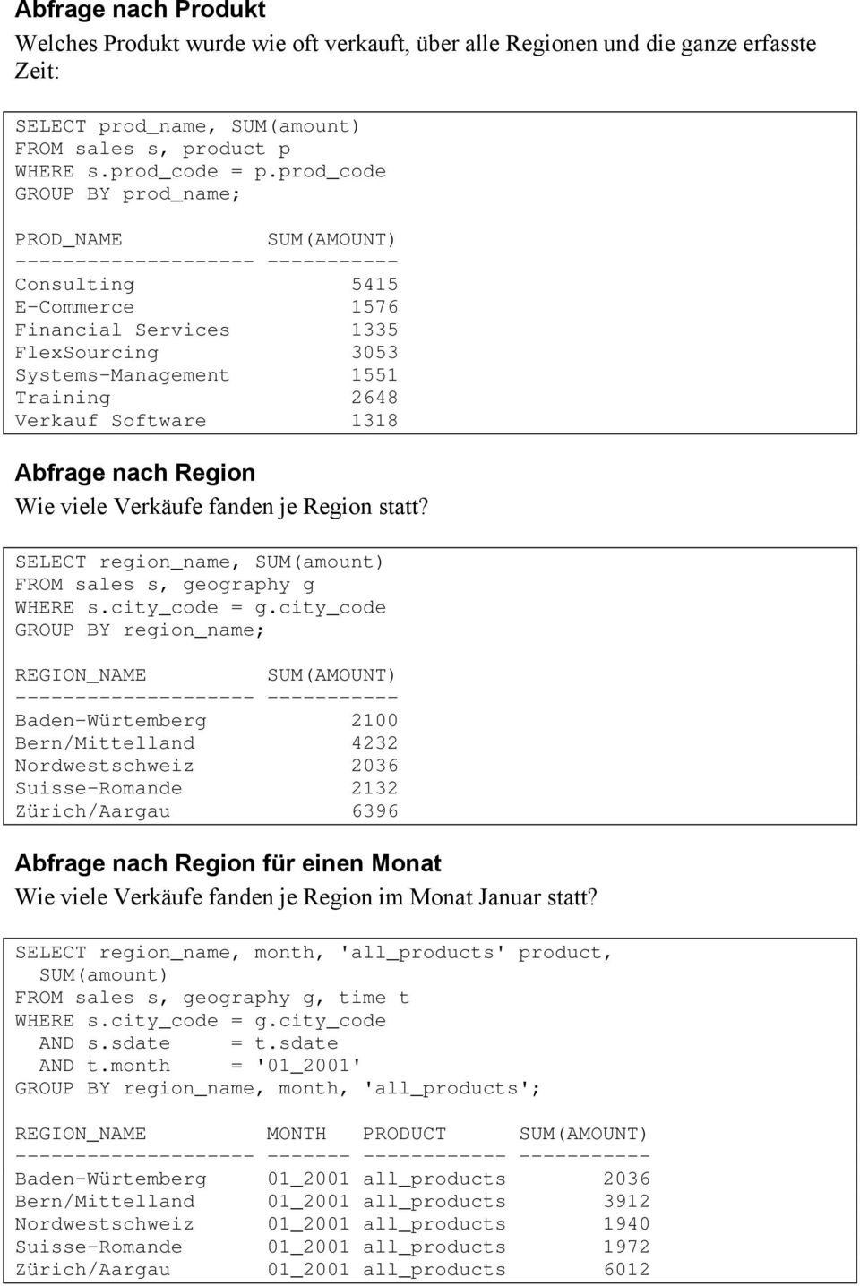 Software 38 Abfrage nach Region Wie viele Verkäufe fanden je Region statt? SELECT region_name, SUM(amount) FROM sales s, geography g WHERE s.city_code = g.
