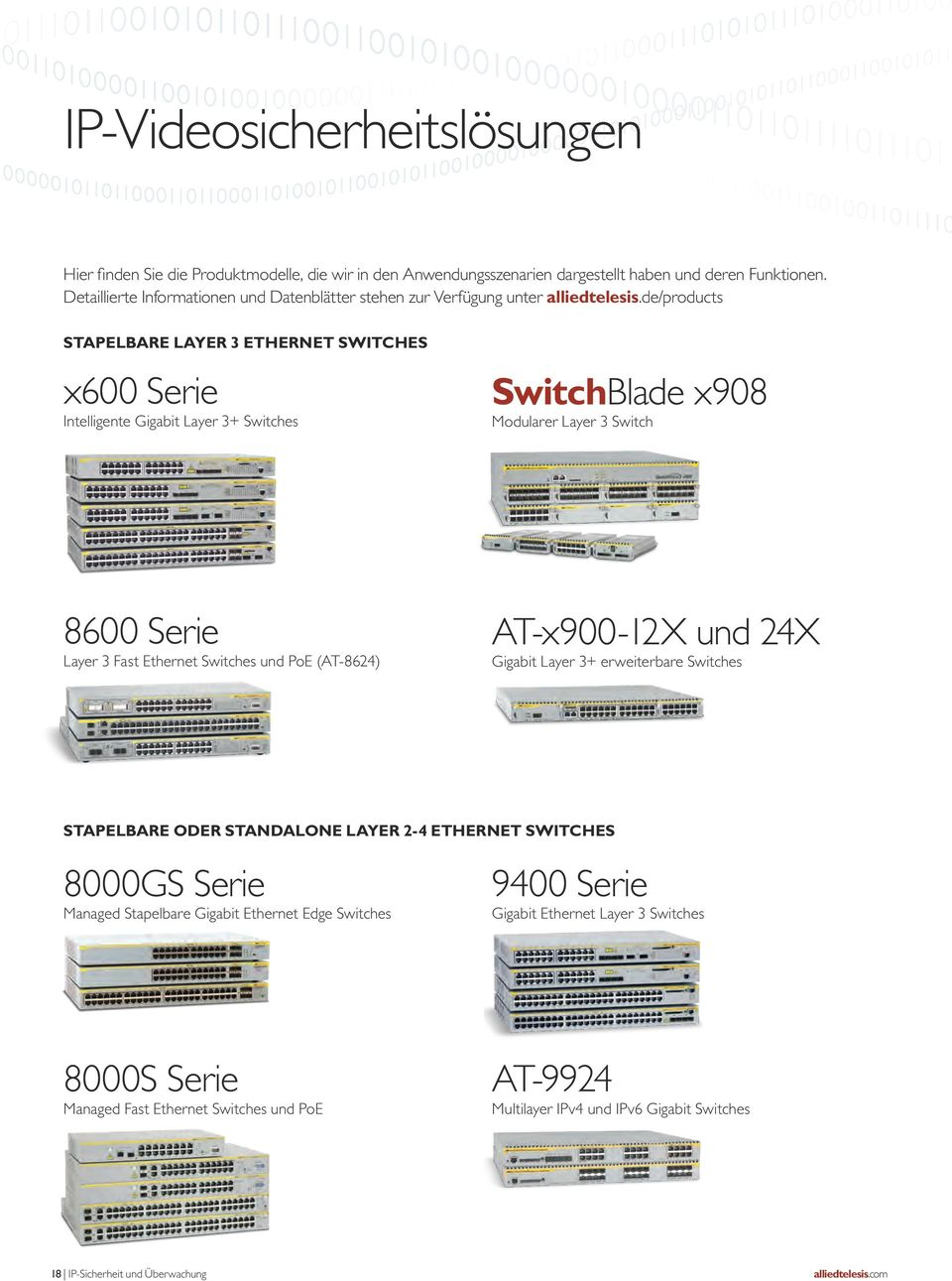 de/products STAPeLBAre Layer 3 ethernet SWITches x600 Serie Intelligente Gigabit Layer 3+ Switches SwitchBlade x908 Modularer Layer 3 Switch 8600 Serie Layer 3 Fast Ethernet Switches und PoE