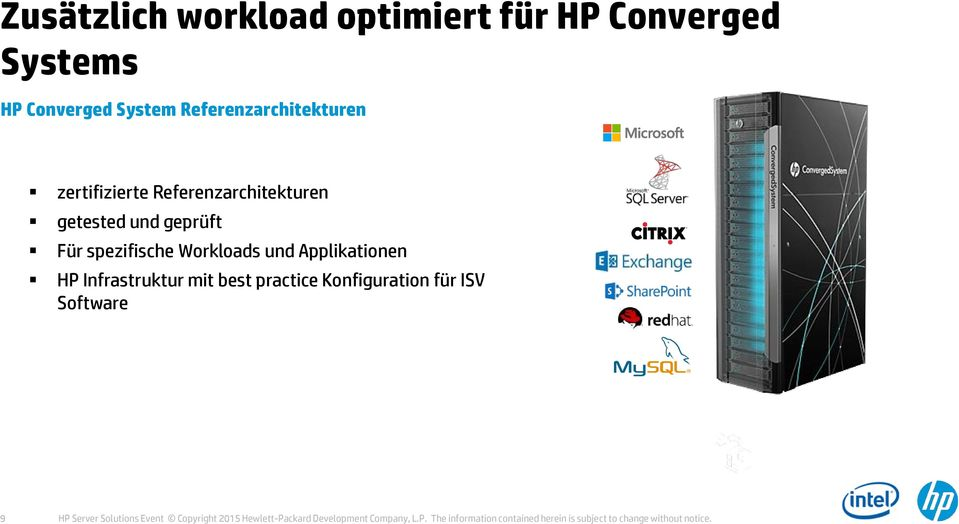 practice Konfiguration für ISV Software Mixed Workloads Cloud Mobility Big Data 9 HP Server Solutions Event