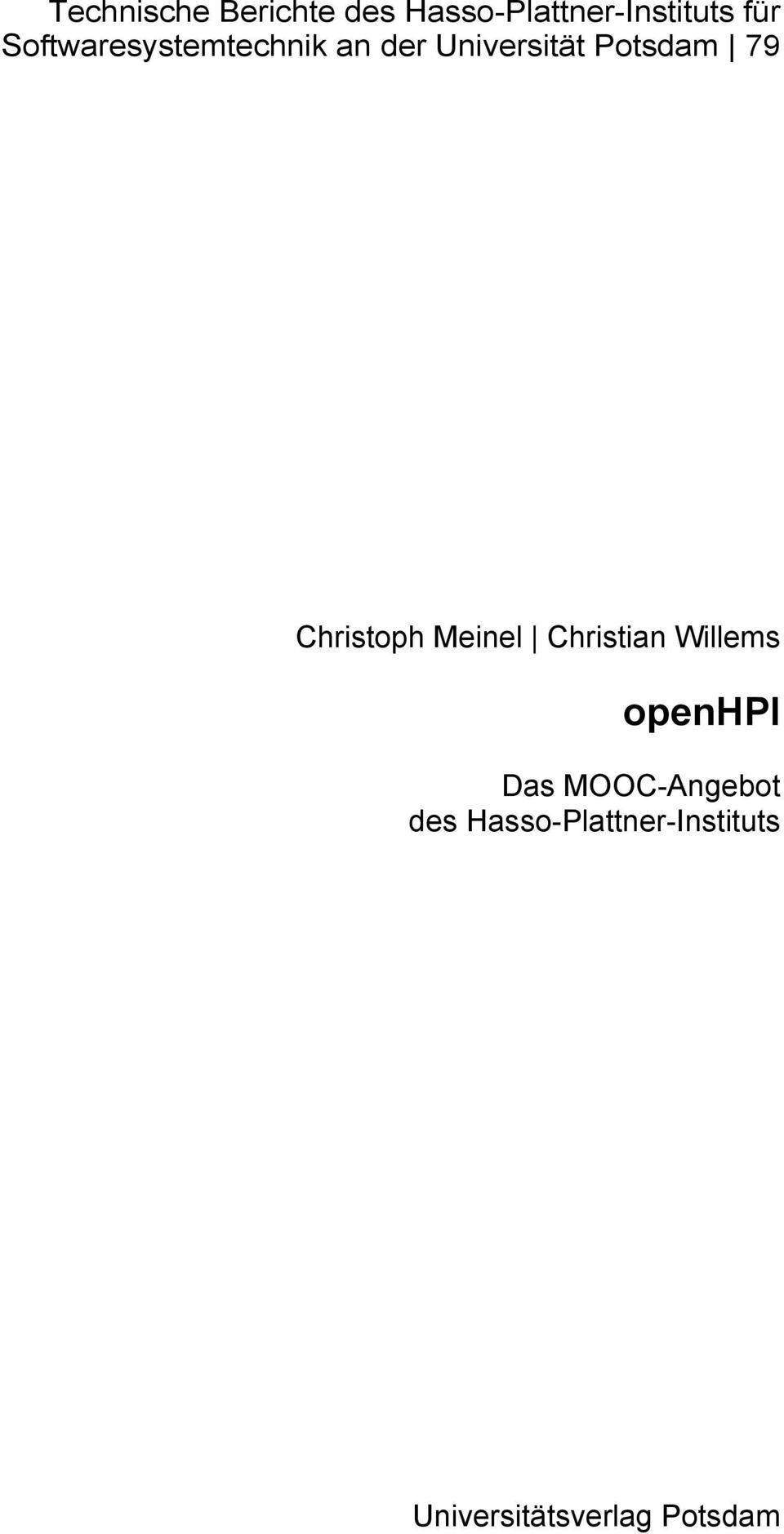 Christoph Meinel Christian Willems openhpi Das