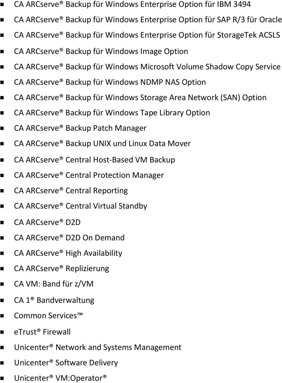 Storage Area Network (SAN) Option CA ARCserve Backup für Windows Tape Library Option CA ARCserve Backup Patch Manager CA ARCserve Backup UNIX und Linux Data Mover CA ARCserve Central Host-Based VM