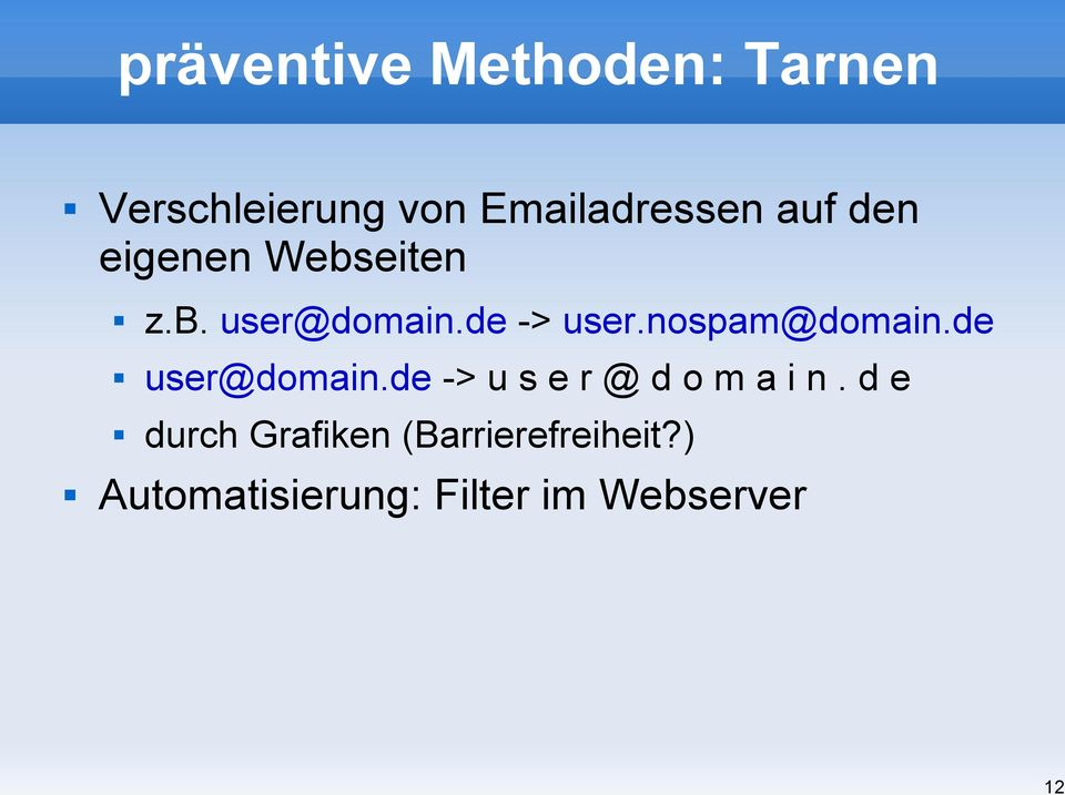 de -> user.nospam@domain.de user@domain.
