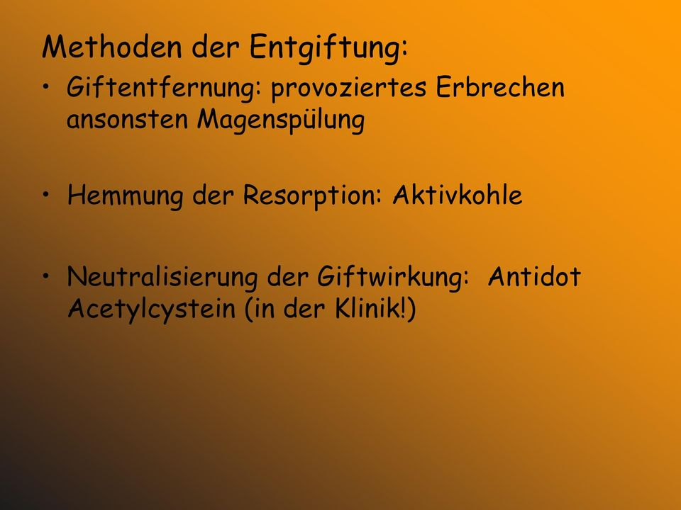 Hemmung der Resorption: Aktivkohle