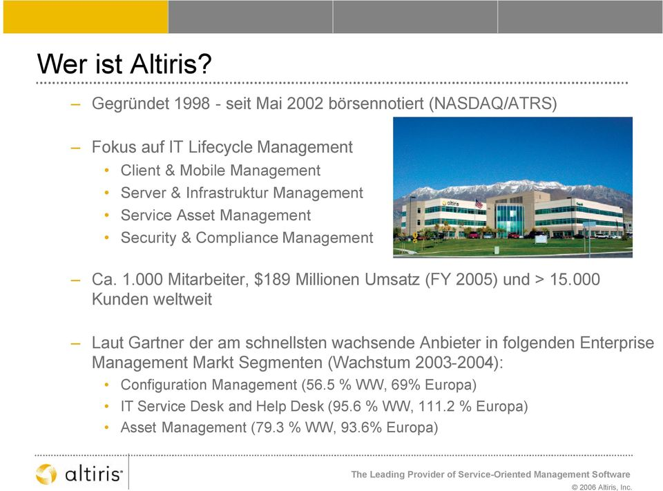 Management Service Asset Management Security & Compliance Management Ca. 1.000 Mitarbeiter, $189 Millionen Umsatz (FY 2005) und > 15.