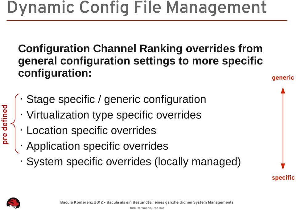 specific / generic configuration Virtualization type specific overrides Location