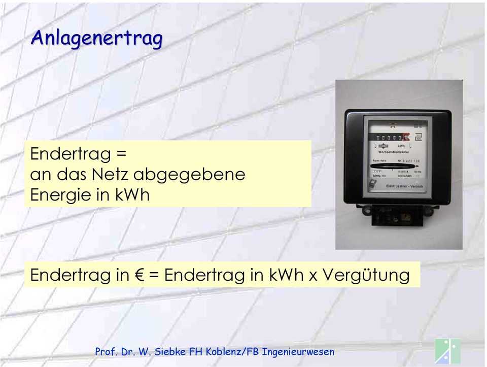 Energie in kwh Endertrag