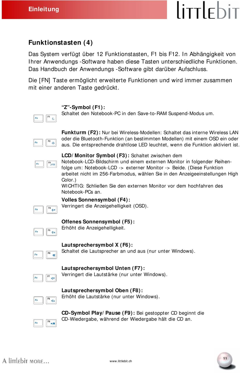 Z -Symbol (F1): Schaltet den Notebook-PC in den Save-to-RAM Suspend-Modus um.