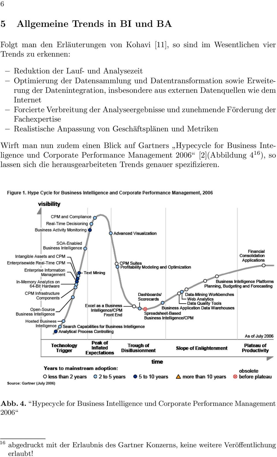 Fachexpertise Realistische Anpassung von Geschäftsplänen und Metriken Wirft man nun zudem einen Blick auf Gartners Hypecycle for Business Inteligence und Corporate Performance Management 2006
