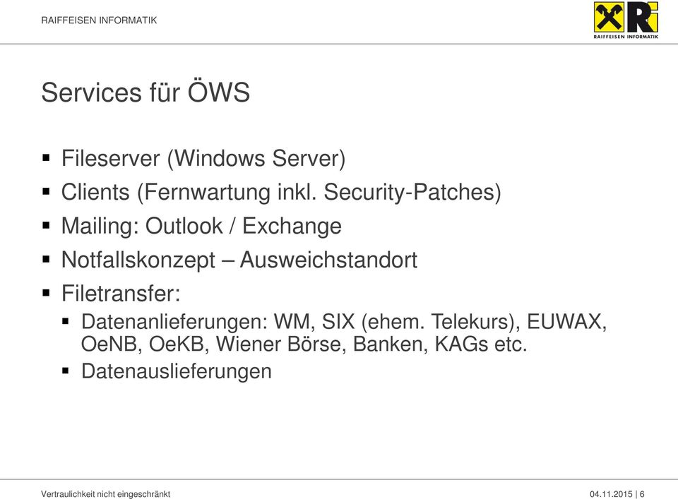 Filetransfer: Datenanlieferungen: WM, SIX (ehem.