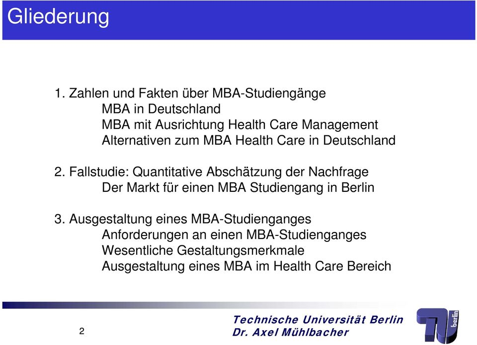 Alternativen zum MBA Health Care in Deutschland 2.