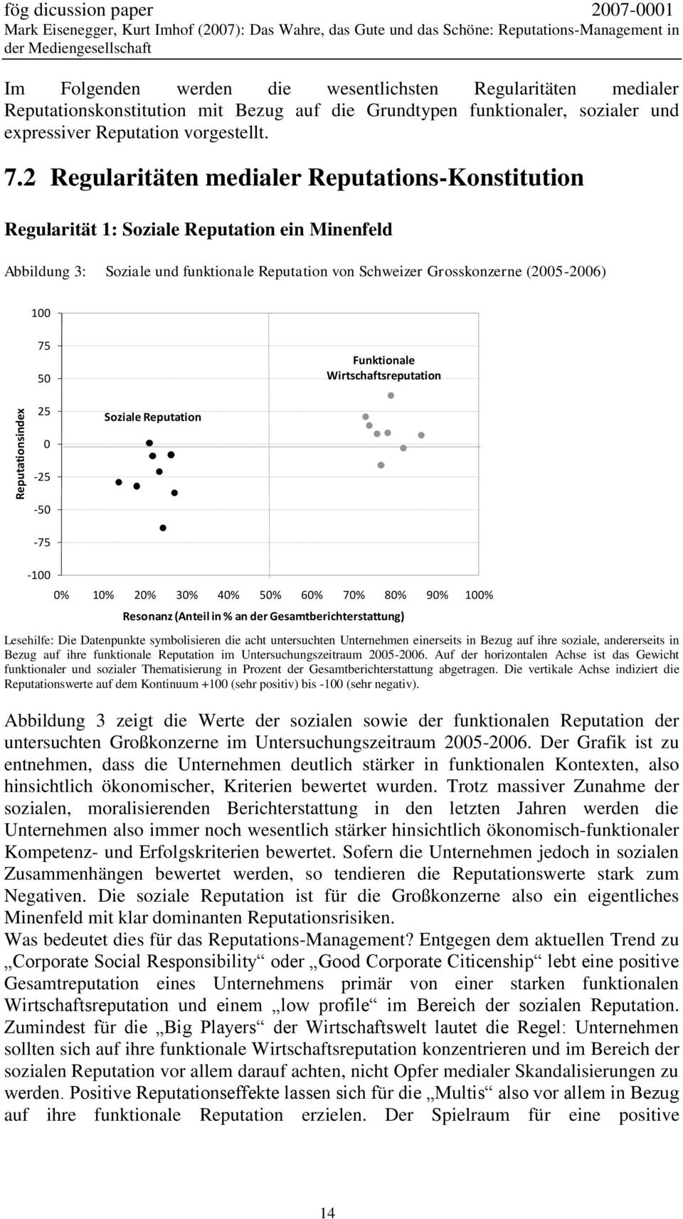 2 Regularitäten medialer Reputations-Konstitution Regularität 1: Soziale Reputation ein Minenfeld Abbildung 3: Soziale und funktionale Reputation von Schweizer Grosskonzerne (2005-2006) 100 75 50
